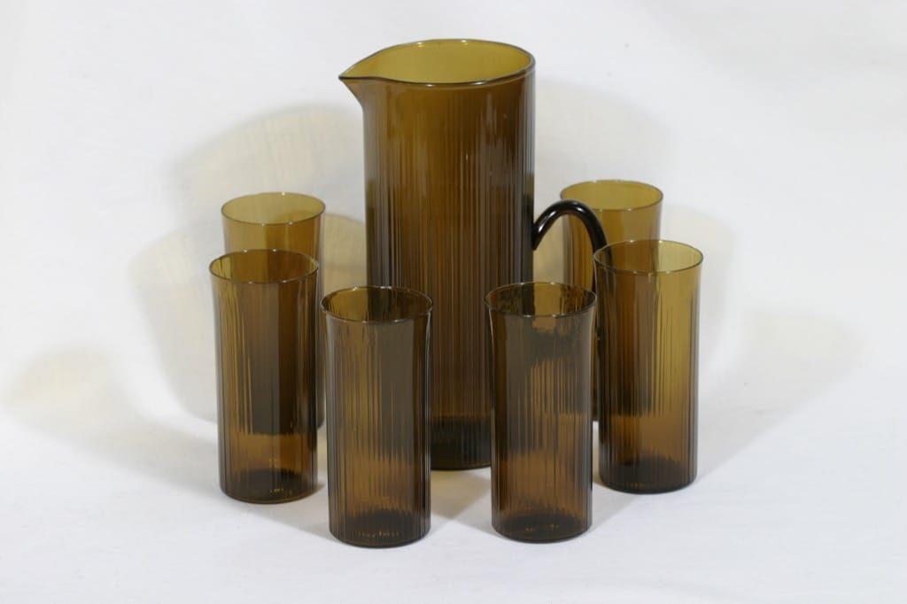 Iittala 2465|2065 kaadin ja lasi, ruskea, 6 kpl, suunnittelija Tapio Wirkkala,