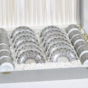 Arabia Milla mokkakupit, käsinmaalattu, 12 kpl, suunnittelija Esteri Tomula, käsinmaalattu
