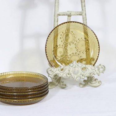 Riihimäen lasi Grapponia lautaset, ruskea|amber, 6 kpl, suunnittelija Nanny Still, pieni