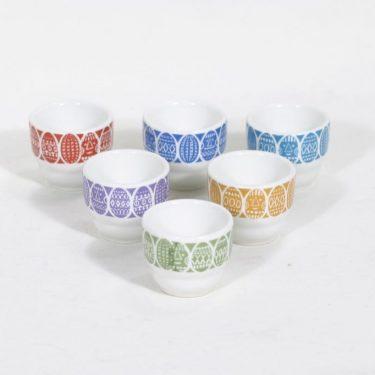 Arabia Kauno munakupit, eri värejä, 6 kpl, suunnittelija Raija Uosikkinen, painokoriste, ornamentti