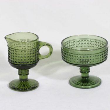 Riihimäen lasi Barokki sokerikko ja kermakko, vihreä, suunnittelija Erkkitapio Siiroinen,
