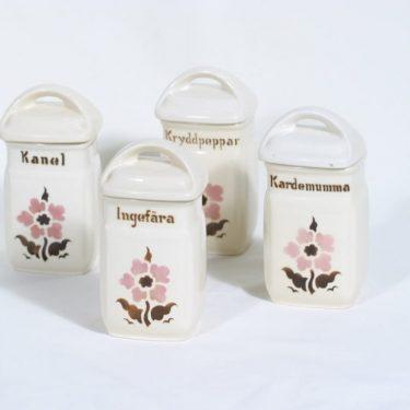Arabia EB1 maustepurkit, kukkakuvio, 4 kpl, suunnittelija , kukkakuvio, pieni, puhalluskoriste