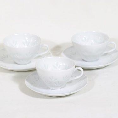 Arabia Lehti mocka cups, porcelain, 3 pcs, designer Friedl Holzer-Kjellberg, 8 cl, signed