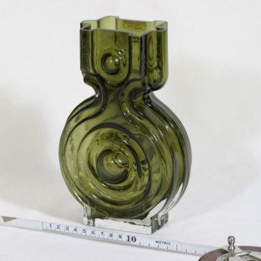 Riihimäen lasi Aitanlukko maljakko, oliivinvihreä, suunnittelija Helena Tynell,  kuva 2