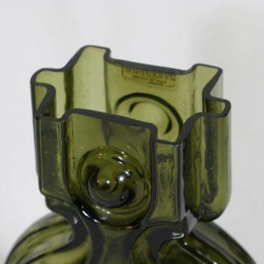 Riihimäen lasi Aitanlukko maljakko, oliivinvihreä, suunnittelija Helena Tynell,  kuva 3