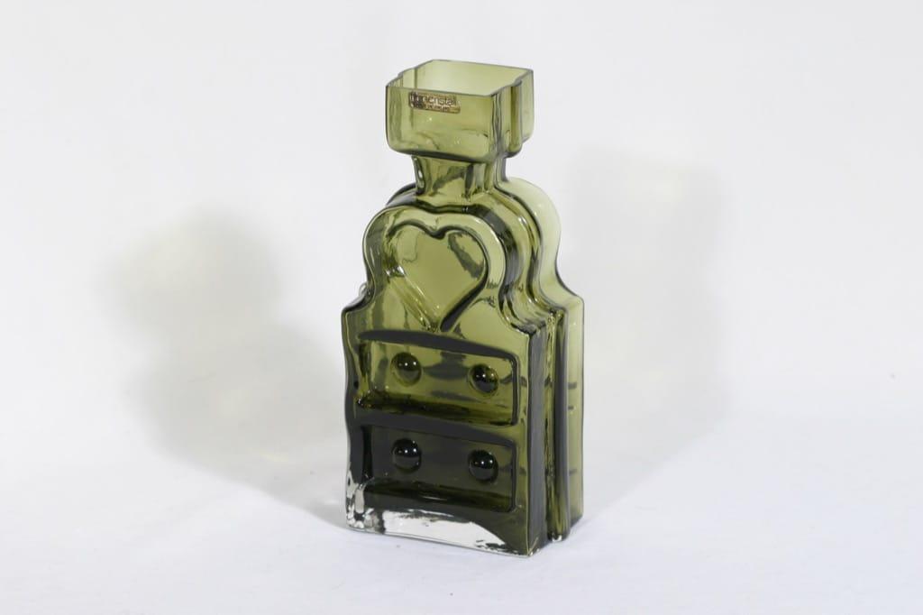 Riihimäen lasi Piironki maljakko, oliivinvihreä, suunnittelija Helena Tynell,