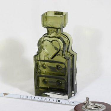 Riihimäen lasi Piironki maljakko, oliivinvihreä, suunnittelija Helena Tynell,  kuva 2