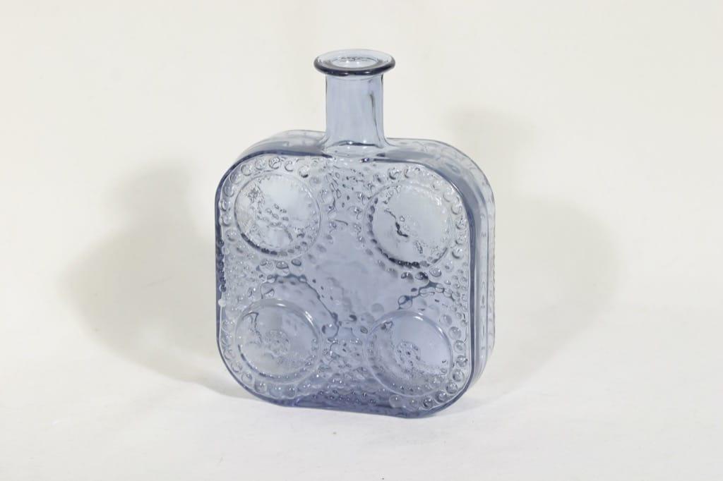 Riihimäen lasi Grapponia koristepullo, siniharmaa, suunnittelija Nanny Still,