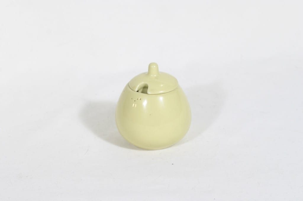 Arabia KA sinappiastia, keltainen, suunnittelija Kaarina Aho, pieni, koristelematon