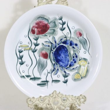 Arabia Crayfish plate, hand-painted, designer Anja Juurikkala