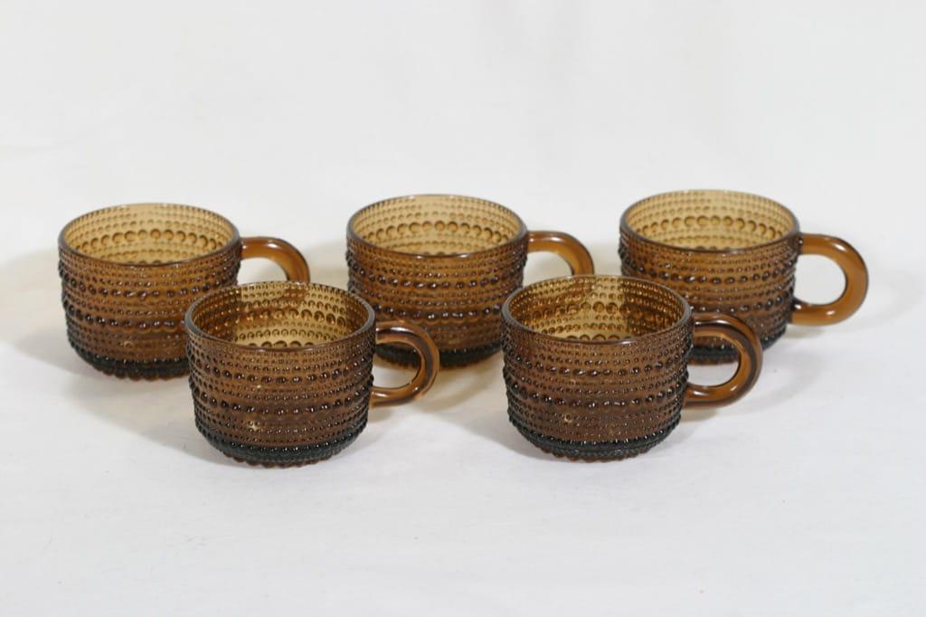 Nuutajärvi Kastehelmi kahvikupit, ruskea, 5 kpl, suunnittelija Oiva Toikka,