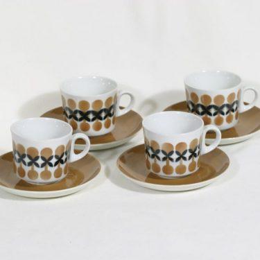 Arabia BR kahvikupit, retro, 4 kpl, suunnittelija Göran Bäck, retro, retrokuvio, puhalluskoriste