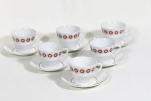 Arabia LL kahvikupit, 6 kpl, suunnittelija Raija Tuumi, tuntematon koriste