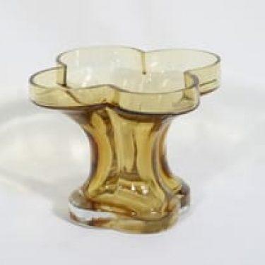 Riihimäen lasi Onnenlehti maljakko, amber, suunnittelija Helena Tynell,
