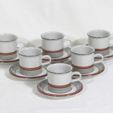 Arabia Aslak kahvikupit, 6 kpl, suunnittelija Ulla Procope, raitakoriste