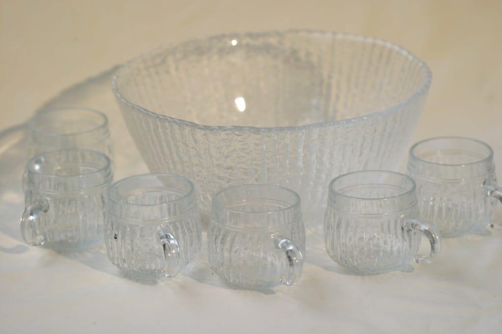 Riihimäen lasi Kehrä boolimalja ja -lasit, 6 kpl, suunnittelija Nanny Still,