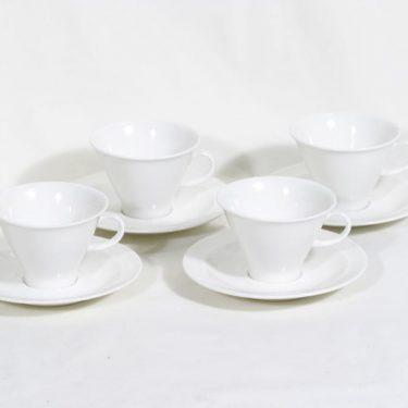 Arabia Harlekin kahvikupit, valkoinen, 4 kpl, suunnittelija Inkeri Leivo,
