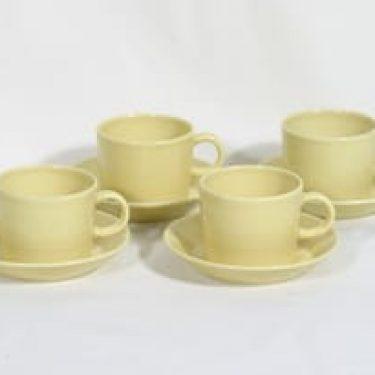 Arabia Teema kahvikupit, keltainen, 4 kpl, suunnittelija Kaj Franck,