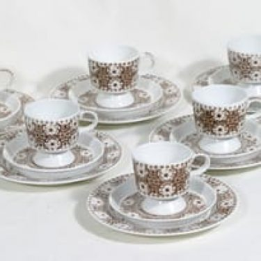 Arabia Ali kahvikupit ja lautaset, 12 cl, 6 kpl, suunnittelija Raija Uosikkinen, 12 cl, kuparipainokoriste