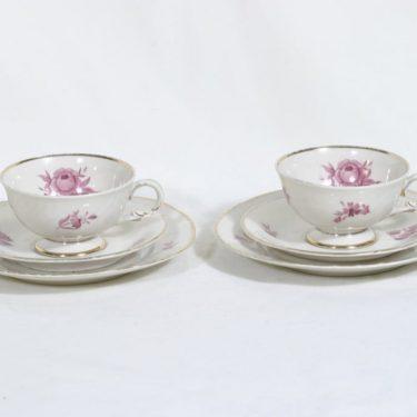 Arabia Regina kahvikupit ja lautaset, 2 kpl, suunnittelija Svea Grankund, serikuva
