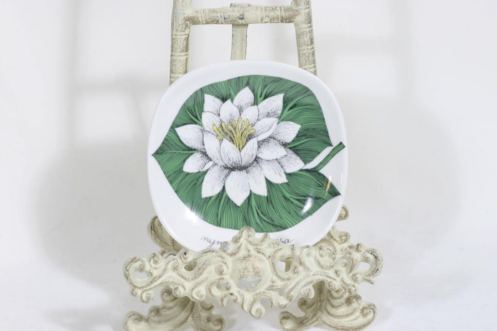 Arabia Botanica koristelautanen, Valkolumme, suunnittelija Esteri Tomula, Valkolumme, serikuva