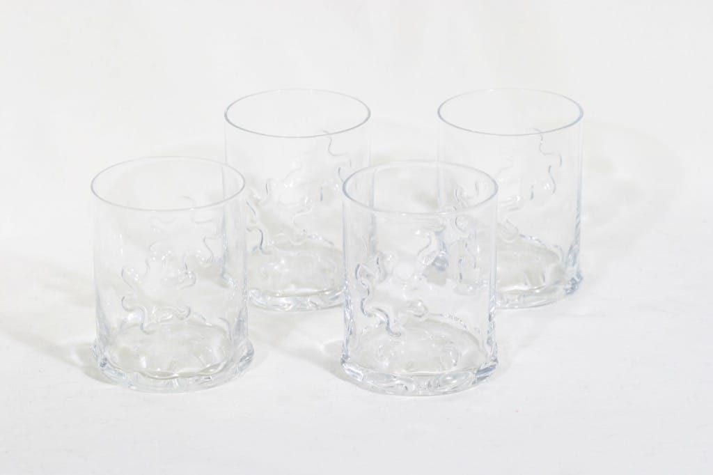 Riihimäen lasi Kasper lasit, kirkas, 4 kpl, suunnittelija Erkkitapio Siiroinen,