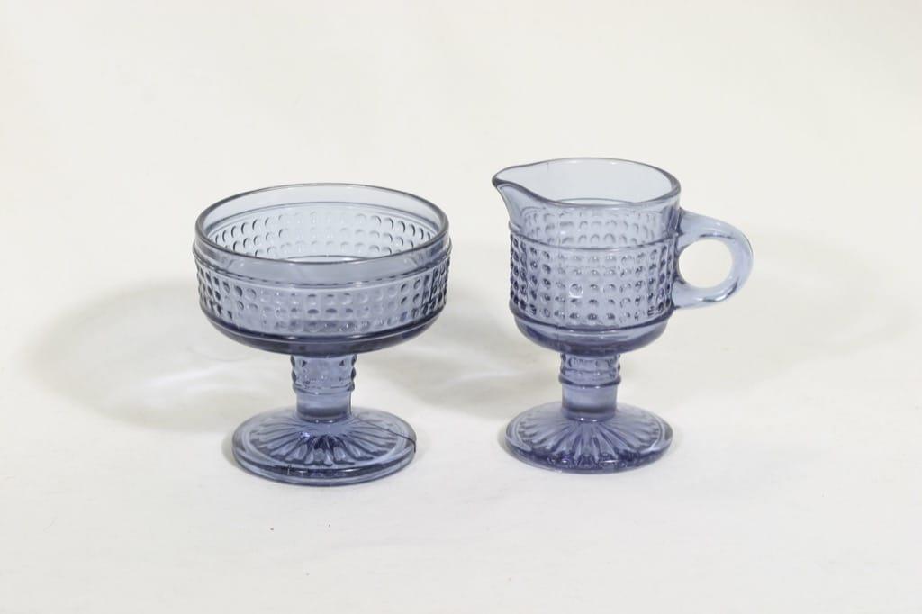 Riihimäen lasi Barokki sugar bowl and creamer, neodymium, designer Erkkitapio Siiroinen