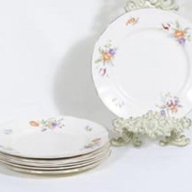 Arabia Kesäkukka lautaset, matala, 7 kpl, suunnittelija , matala, siirtokuva