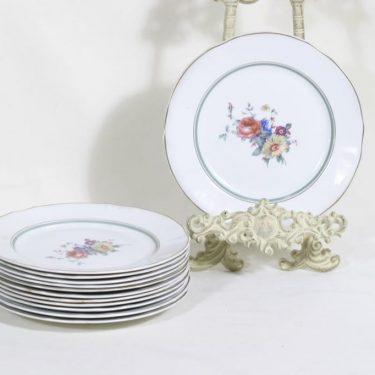 Arabia lautaset, kukkakuvio, 12 kpl, suunnittelija , kukkakuvio, siirtokuva
