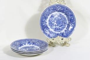 Arabia Maisema soup plates, 5 pcs, copper ornament