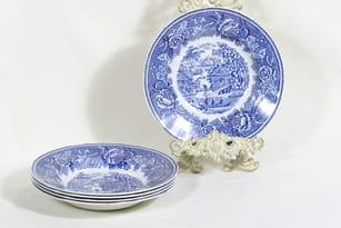 Arabia Maisema lautaset, syvä, 5 kpl, suunnittelija , syvä, kuparipainokoriste