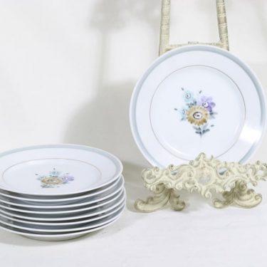 Arabia lautaset, kukkakuvio, 9 kpl, suunnittelija , kukkakuvio, pieni, käsinmaalattu