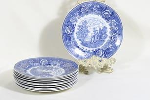 Arabia Maisema lautaset, matala, 11 kpl, suunnittelija , matala, kuparipainokoriste