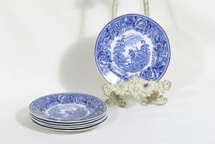 Arabia Maisema plates, small, 5 pcs, copper ornament