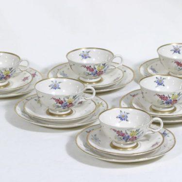 Arabia AS kahvikupit ja lautaset, kukkakuvio, 6 kpl, suunnittelija , kukkakuvio, käsinmaalattu