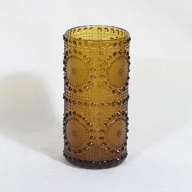 Riihimäen lasi Grapponia maljakko, amber, suunnittelija Nanny Still,