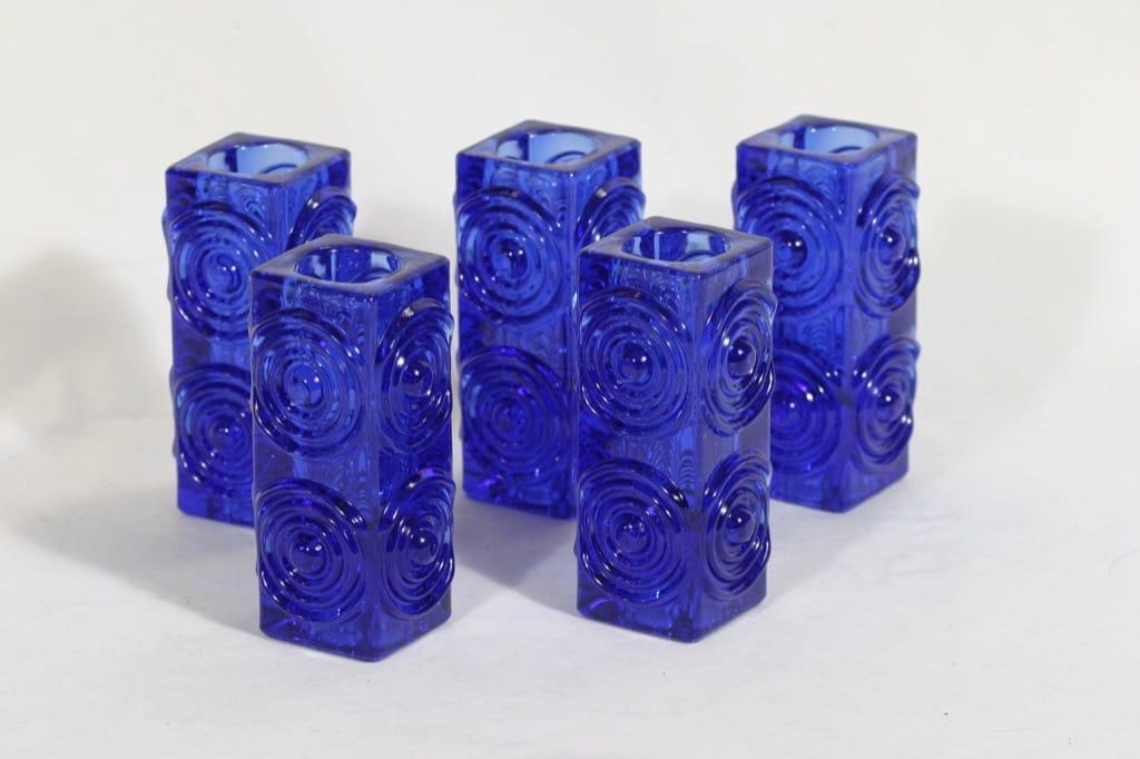 Riihimäen lasi Rengas kynttilänjalat, koboltinsininen, 5 kpl, suunnittelija Tamara Aladin,