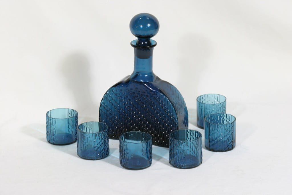 Riihimäen lasi 1709 karahvi ja lasit, 50 cl, 6 kpl, suunnittelija Nanny Still, 50 cl
