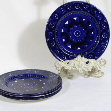 Arabia Valencia lautaset, matala, 4 kpl, suunnittelija Ulla Procope, matala, käsinmaalattu, signeerattu