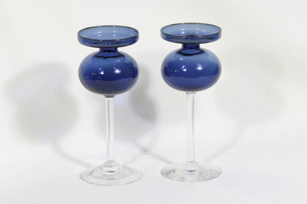 Riihimäen lasi 2660 kynttilänjalat, sininen, 2 kpl, suunnittelija Erkki Vesanto,