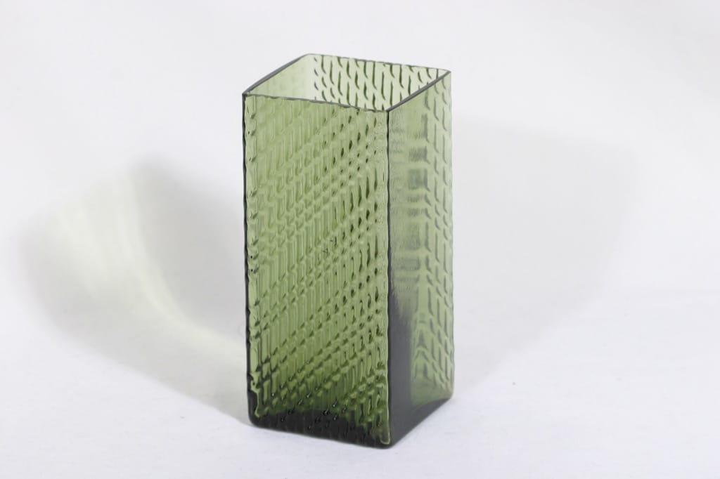 Riihimäen lasi Flindari maljakko, vihreä, suunnittelija Nanny Still,