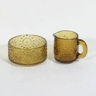 Riihimäen lasi Grapponia sokerikko ja kermakko, ruskea, suunnittelija Nanny Still,