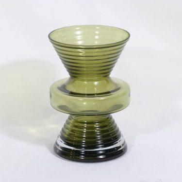 Riihimäen lasi Tiimalasi maljakko, vihreä, suunnittelija Nanny Still,