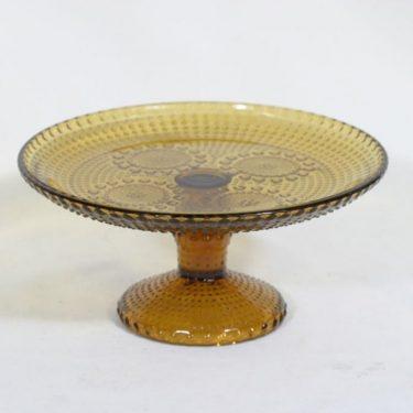 Riihimäen lasi Grapponia leivostarjotin, amber, suunnittelija Nanny Still,