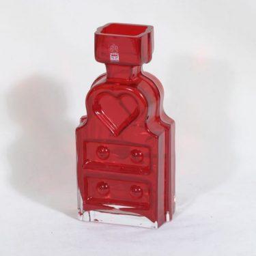 Riihimäen lasi Piironki maljakko, punainen, suunnittelija Helena Tynell,