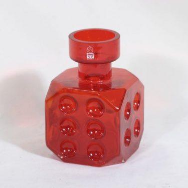 Riihimäen lasi Arpa on heitetty maljakko, punainen, suunnittelija Erkkitapio Siiroinen,