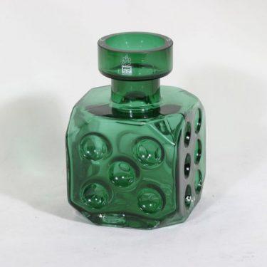 Riihimäen lasi Arpa on heitetty maljakko, vihreä, suunnittelija Erkkitapio Siiroinen,