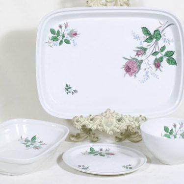 Arabia A kulhot ja lautanen, kukkakuvio, 3 kpl, suunnittelija , kukkakuvio, siirtokuva
