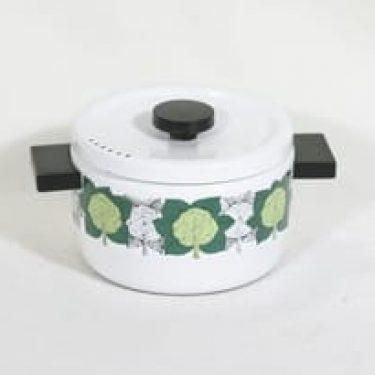 Finel Ruusukaali kattila, valkoinen, suunnittelija Esteri Tomula, serikuva