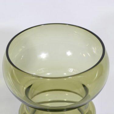 Riihimäen lasi Kielo maljakko, oliivinvihreä, suunnittelija Tamara Aladin,  kuva 3